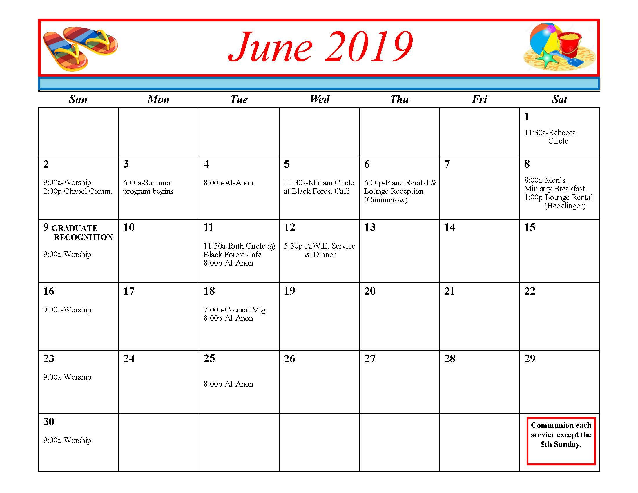 Calendar For June.Calendar June 2019